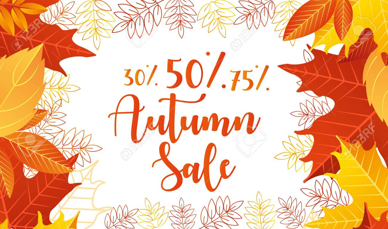 Autumn sale lettering vector illustration. Cartoon flat web banner design with autumnal yellow orange or red dry maple tree leaves on border of poster advertising, special discount offer for shopping - 148957202