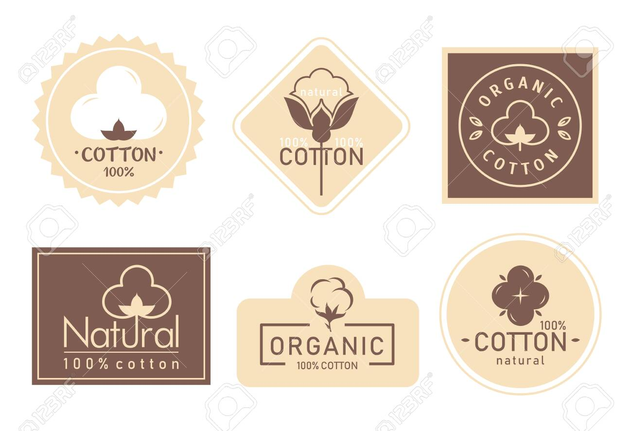 Organic cotton label vector illustration set. Mark icons collection with cottonseed branch plant symbol emblem, natural bio organic product, fabric quality fiber for knitting and textile industry - 148957204