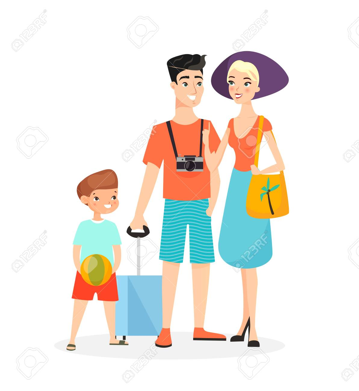 Vector illustration of happy family, time together in summer. Mother, father and son are ready to travel in summer clothes isolated on white background cartoon characters - 148957211