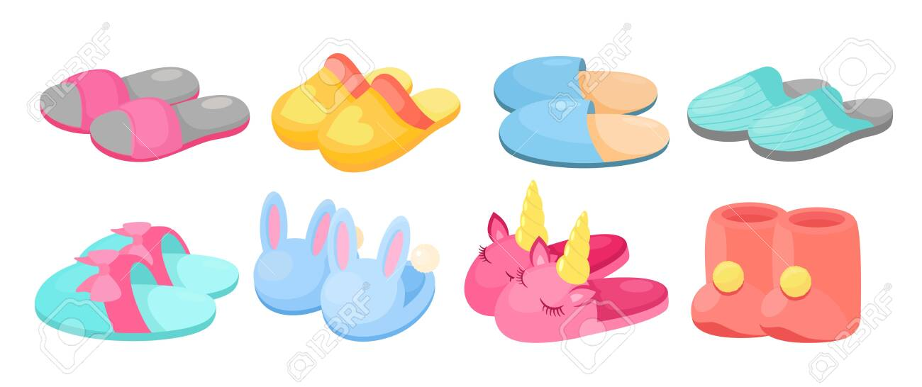 Slippers vector illustration set. Cartoon flat home warm comfortable bedroom shoes for man woman children feet, slipper with fluffy pompon ball, cute animal head, footwear collection isolated on white - 148957212