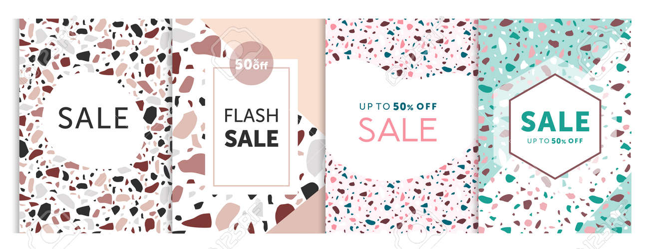 Vector illustration of set templates for sale bunners with terrazzo patterns style. Seasoned sale, advertising banners and cards collection - 148957218