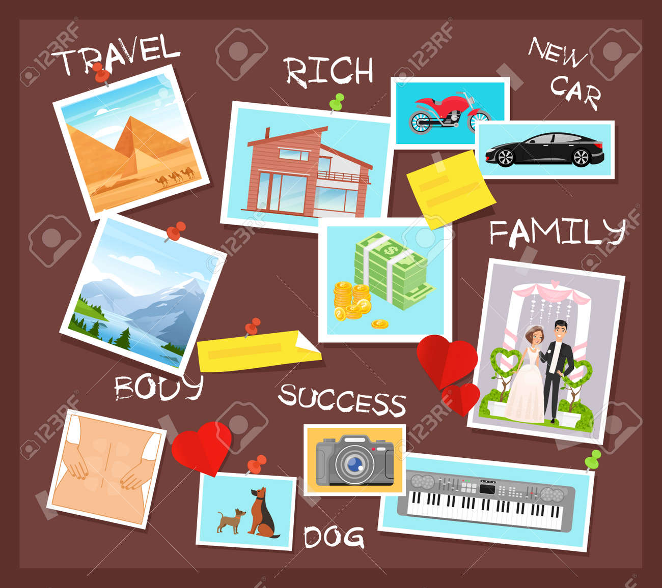 Cartoon flat visionary examples of financial business success, travel achievements, happy family wedding, motivation for body training. Vision board, collage with dreams and goals vector illustration - 151954095