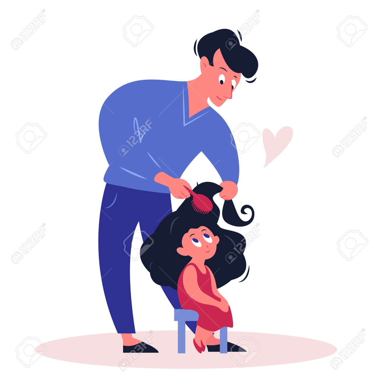 Father time with daughter vector illustration. Cartoon flat happy family characters spending time together, parent dad holding comb, doing hairstyle to cute girl. Fathers day concept isolated on white - 151954099