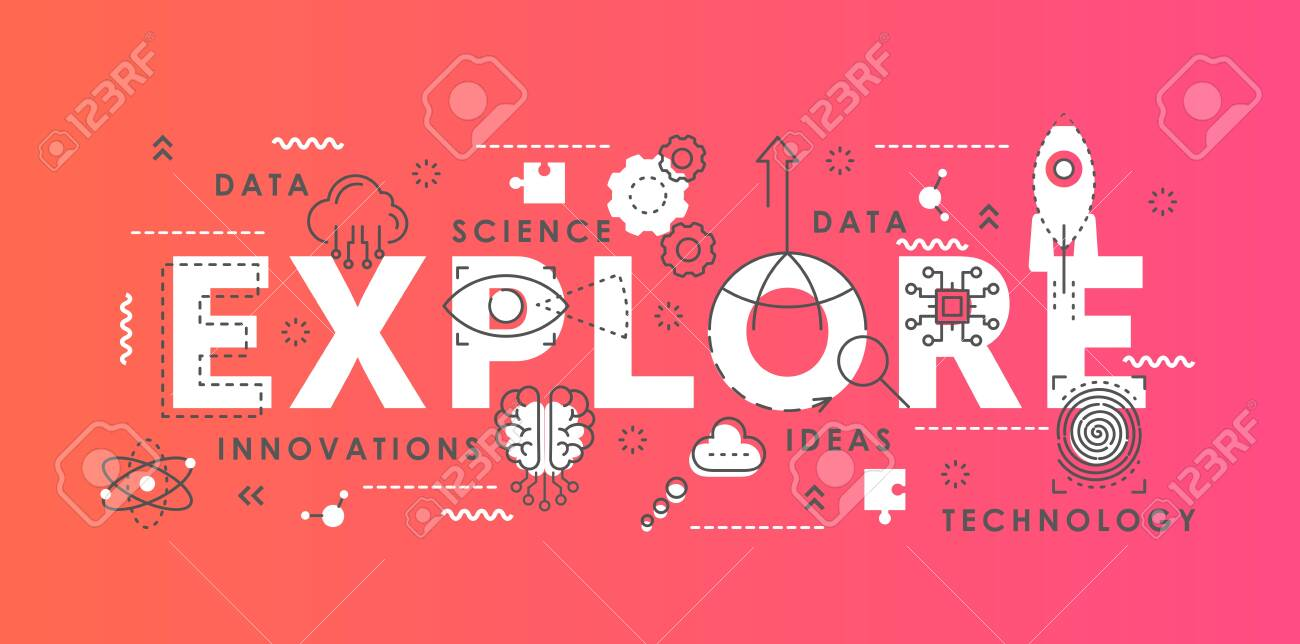Explore word abstract thin line vector illustration. Flat lineart horizontal infographic banner design with innovation science symbols, scientific exploring lab equipment, idea development concept - 151954100