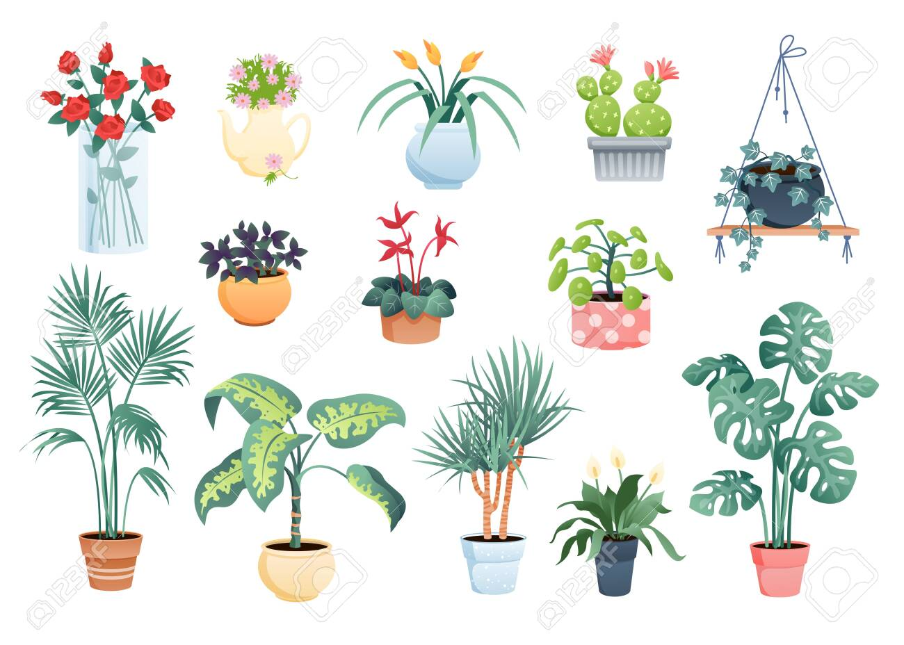 House plants home decor vector illustration set. Cartoon flat potted plants and flowers collection of houseplants in macrame pot, clay or glass vase for indoor garden decoration isolated on white - 151954106