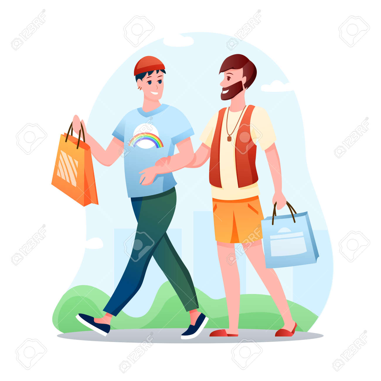 Gay couple LGBT love vector illustration. Cartoon flat happy man partner characters walking, lovers spend time together. Love, LGBT relationship, homosexuality concept isolated on white - 151954103