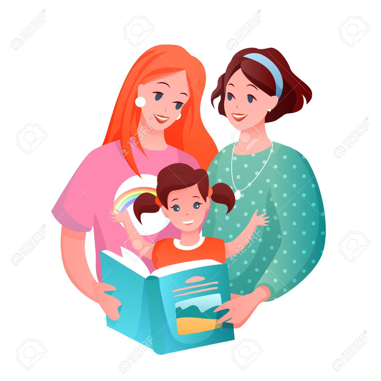 Lesbian family with kid vector illustration. Cartoon flat happy loving woman parent characters and girl child reading book together, LGBT family concept isolated on white - 151954104