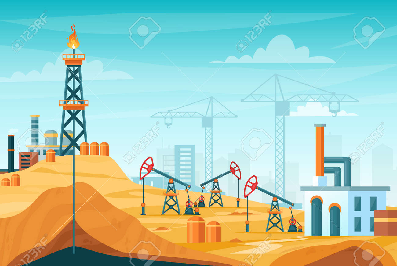 Oil extraction landscape vector illustration. Cartoon flat urban factory station skyline with well drilling, extracting industrial process, oil rig tower to pump black liquid from oilfield background - 151954107
