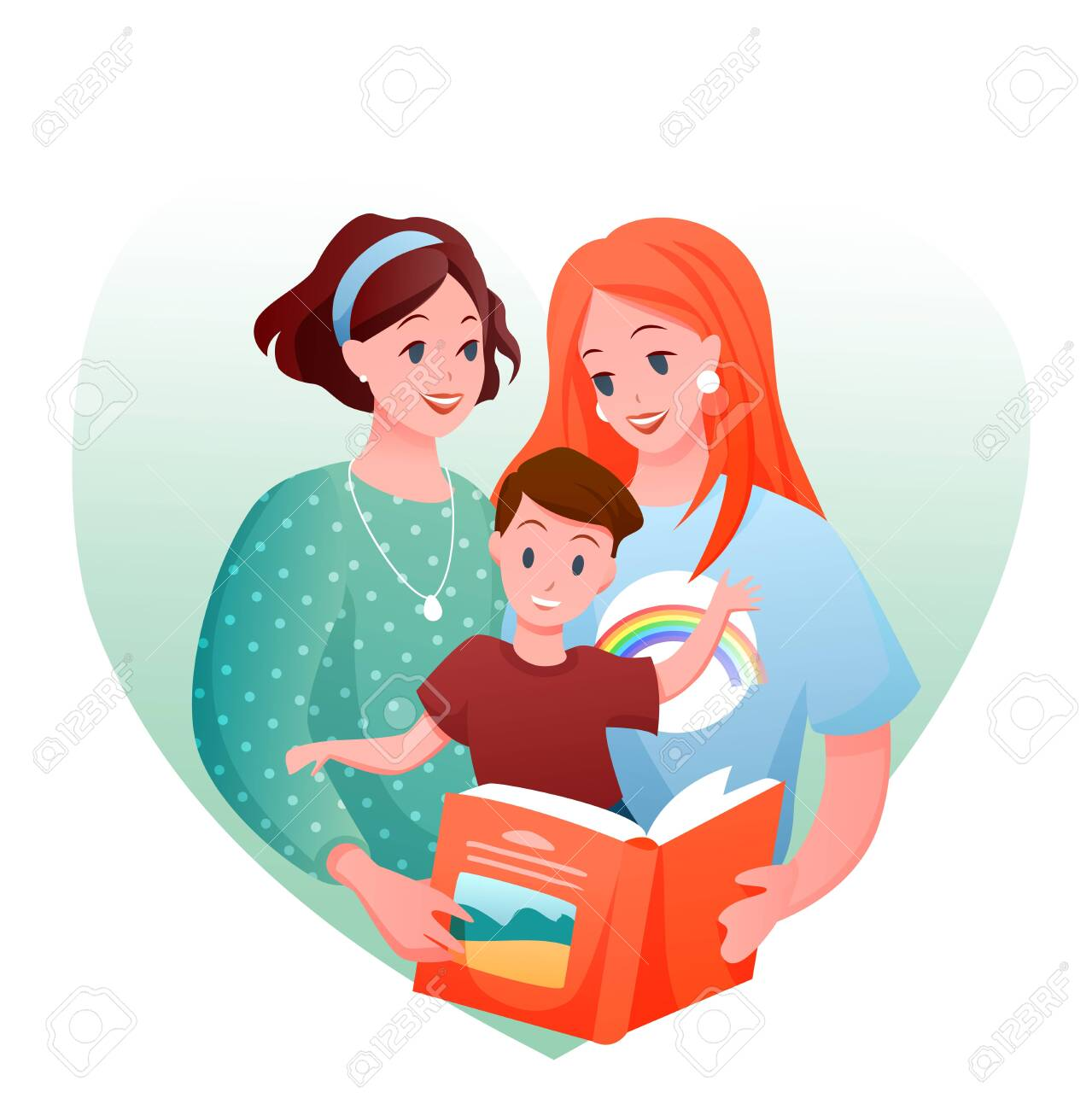 Lesbian family vector illustration. Cartoon flat happy loving two mother characters with kid boy reading book together, love and parenting in LGBT family concept isolated on white - 151954110