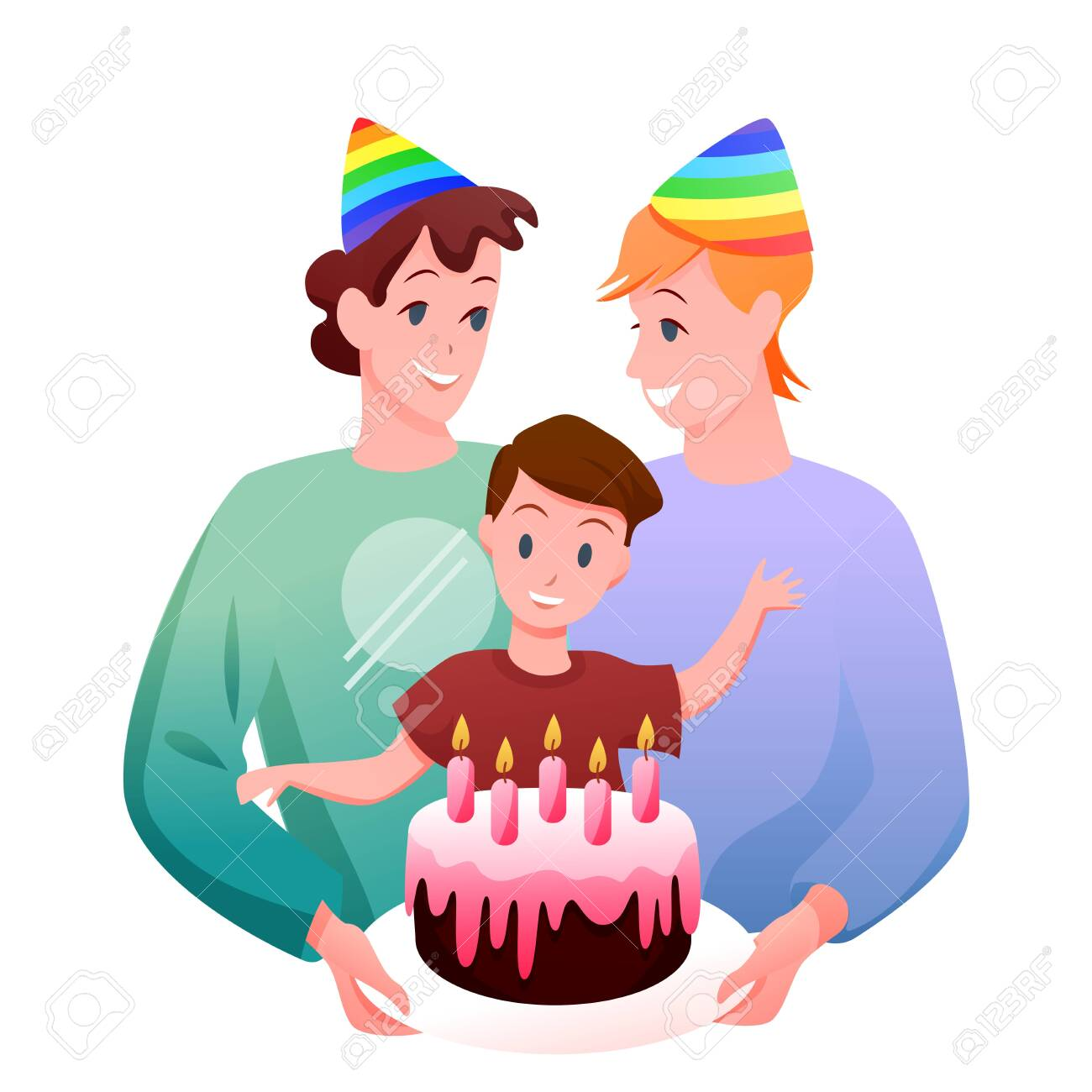 Gay LGBT family celebration vector illustration. Cartoon flat happy man parent characters, two fathers with boy kid celebrating child birthday with gift cake isolated on white - 151954109