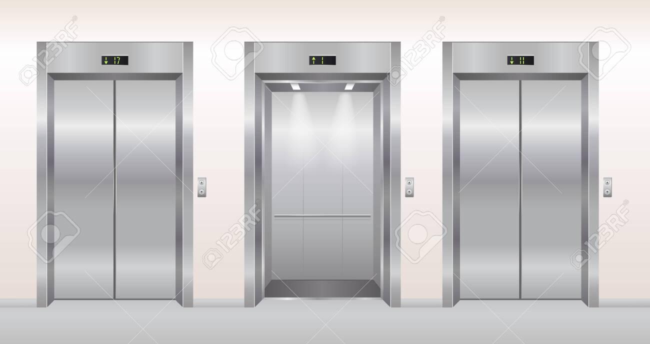 Elevator doors vector illustration. Cartoon flat empty realistic modern office or hotel hallway interior with chrome metal grey lift, open closed elevator doors background - 151954112