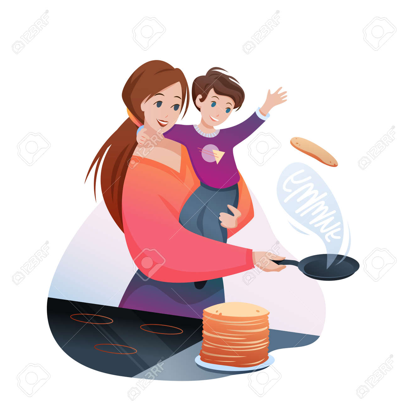 Mother cooks family breakfast food vector illustration. Cartoon flat mom character cooking yummy pancakes, holding boy child in hands, happy motherhood isolated on white - 151954111
