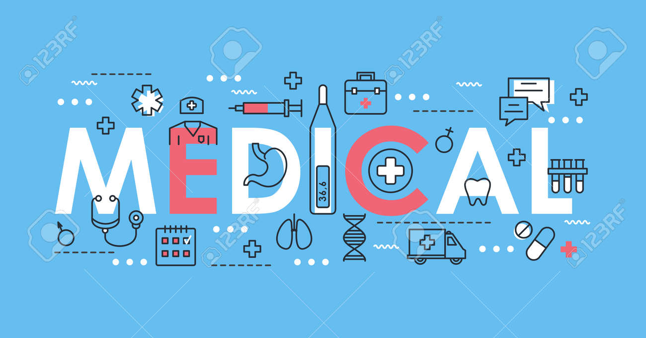 Medical word thin line vector illustration. Flat lineart concept web banner design with medicine and healthcare symbols, medic support health, laboratory diagnosis and treatment in hospital objects - 151954131