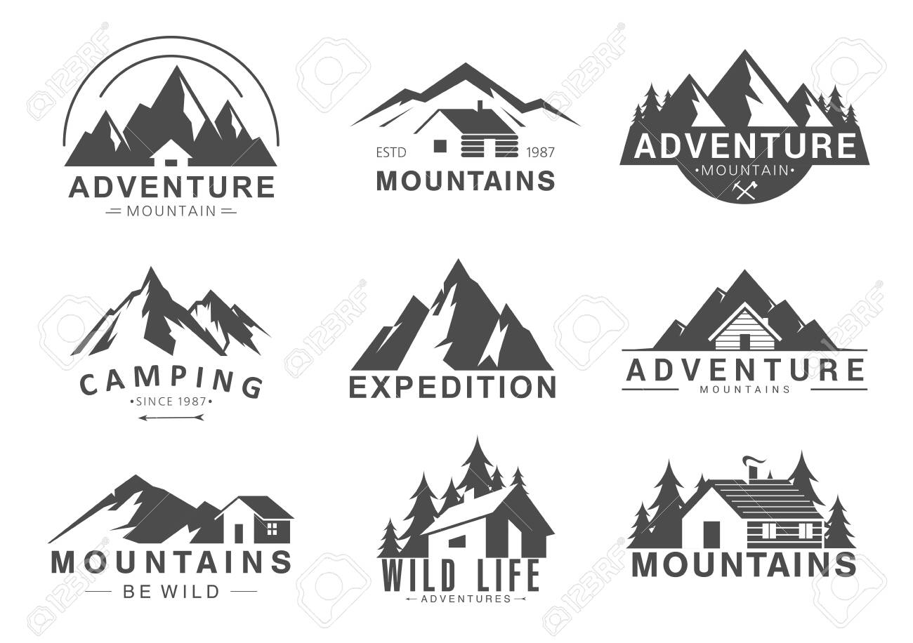 Mountain logo flat vector illustration set. Design element sign logo stamp collection of camping outdoor tourism adventure, rocky mountain peaks, life in wilderness - 151954133