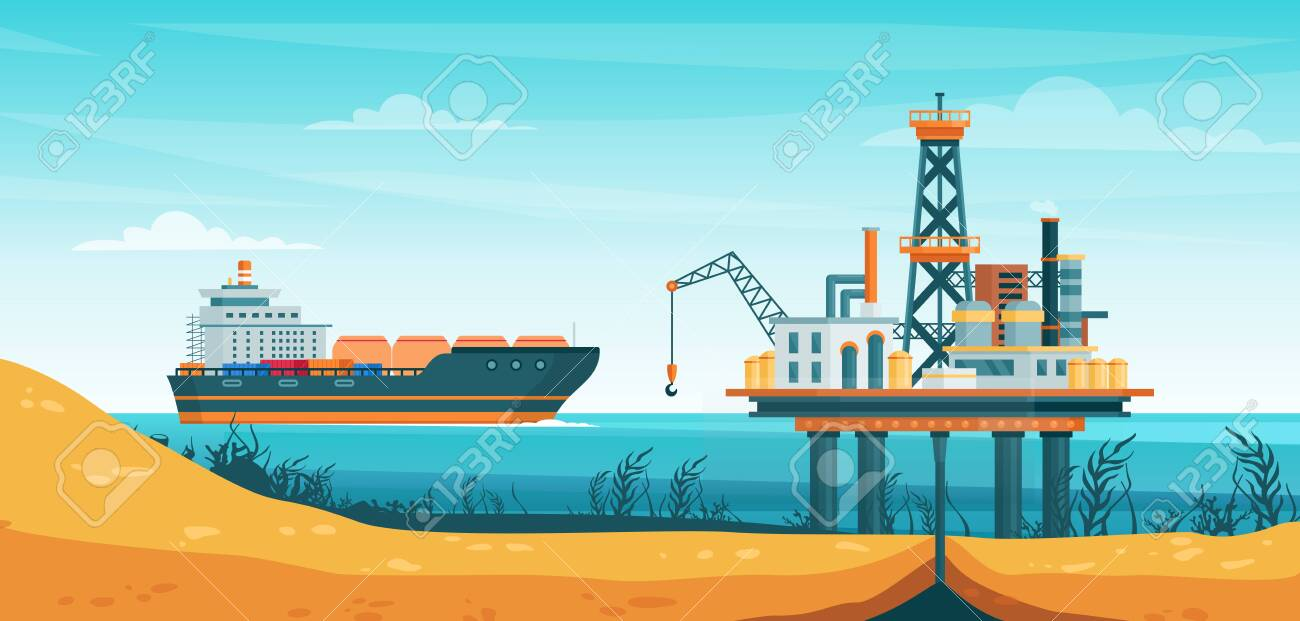 Oil gas extraction vector illustration. Cartoon flat drill oilfield technology, offshore extracting pump tower station at sea water, ship tanker passing to rig drilling platform infographic poster - 151954138