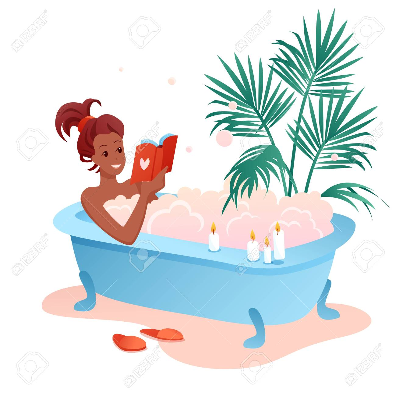 Enjoy bath time flat vector illustration. Cartoon young african woman character enjoying relaxing bubble foam bath, girl reading book in bathroom isolated on white - 151947933