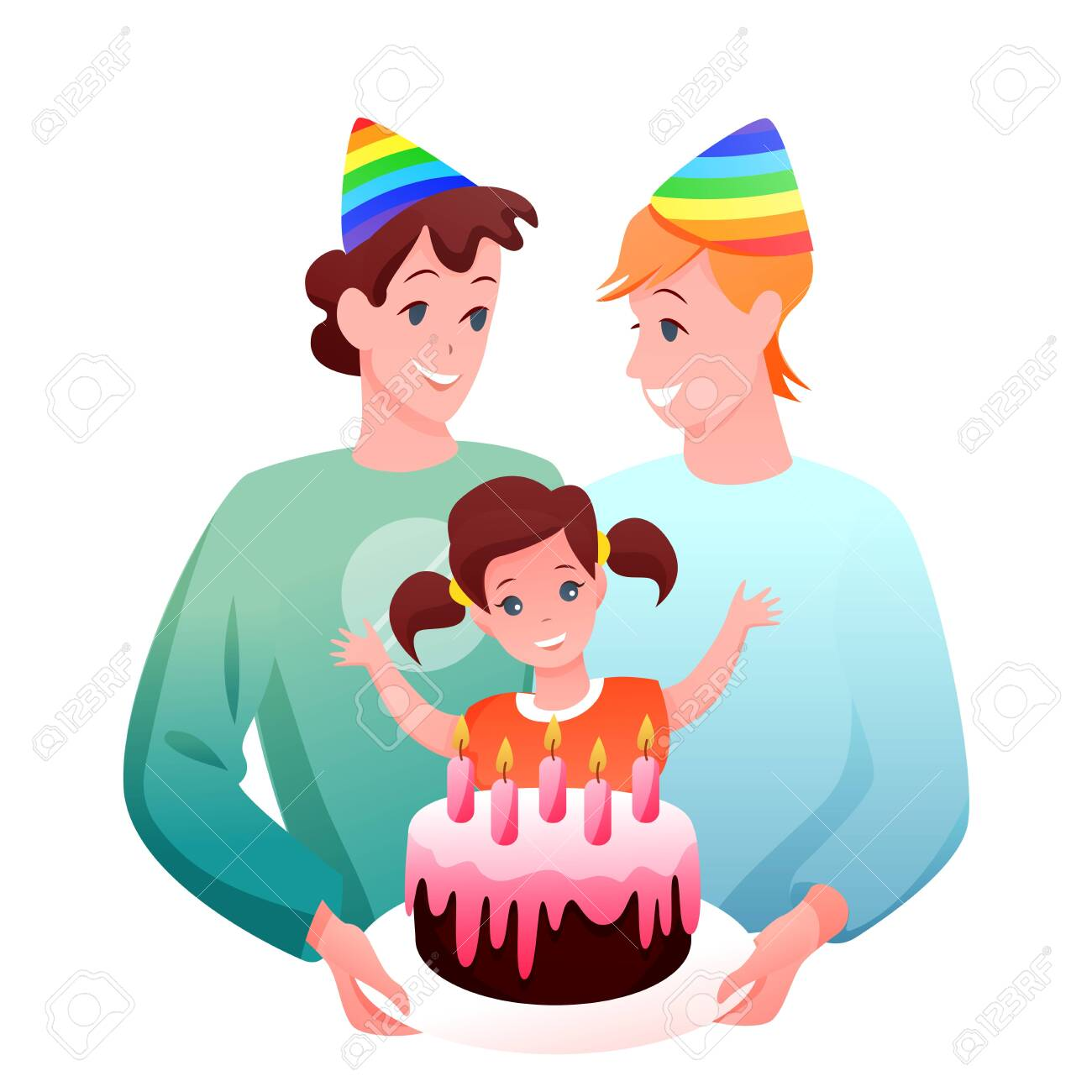 Gay LGBT family celebrate vector illustration. Cartoon flat happy two father characters celebrating birthday of daughter girl with gift chocolate cake, kid birthdate celebration isolated on white - 151954141