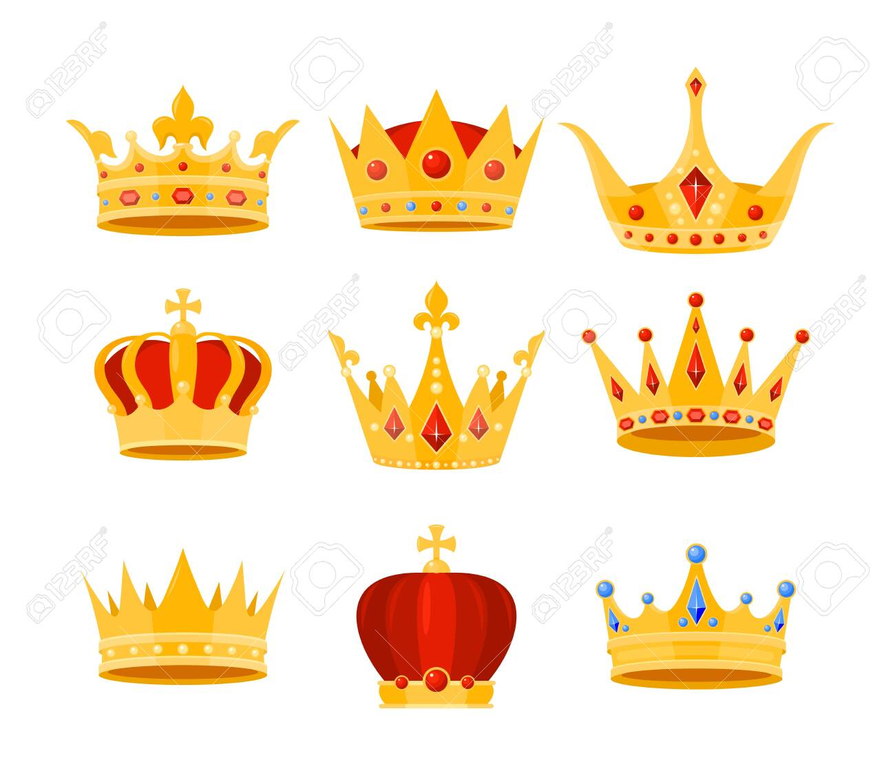 Golden crown vector illustration set. Cartoon flat gold royal medieval collection of luxury monarch crowning jewel headdress for king, emperor or queen, monarchy imperial symbols isolated on white - 151948115