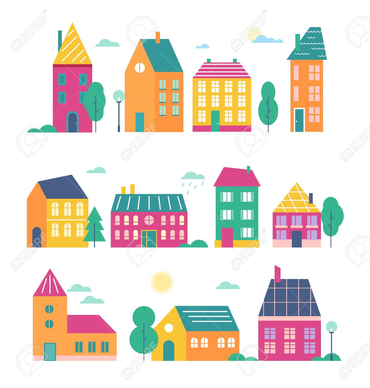 Town houses vector illustration set. Cartoon flat cute colorful urban variety buildings collection of modern and retro townhouse or cottage household facade with door, window, roof isolated on white - 151948070