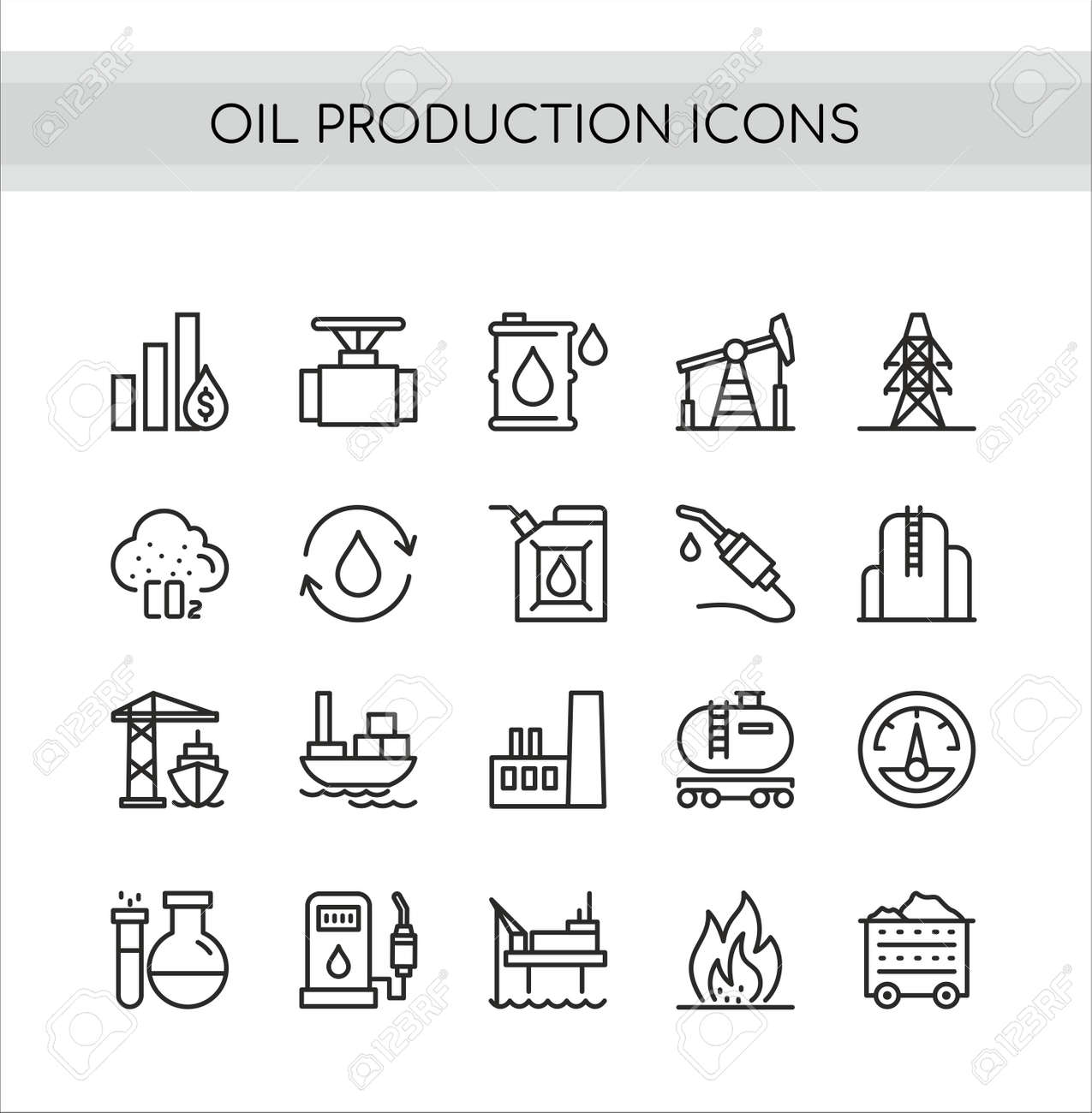 Oil production vector illustration set. Flat thin line icons collection of extraction in oilfield drilling pump station, tanker ship or truck transportation, pollution and refinery oil plant symbols - 151954139