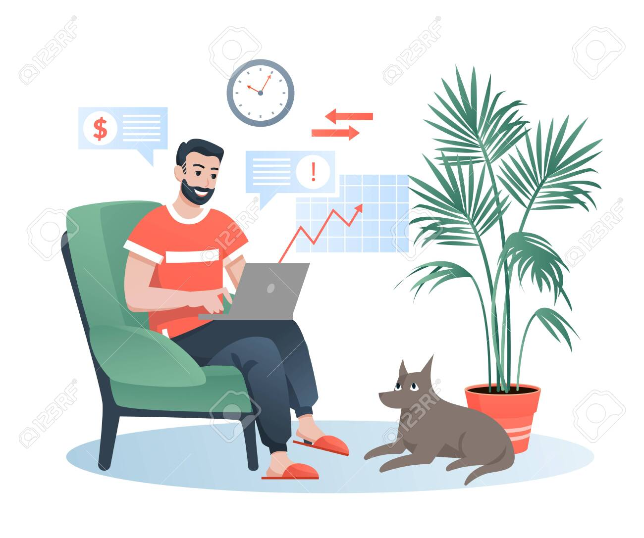 Freelancer works at home flat vector illustration. Cartoon bearded happy hipster man character sitting in comfortable armchair, working with laptop. Remote job isolated on white - 152370283