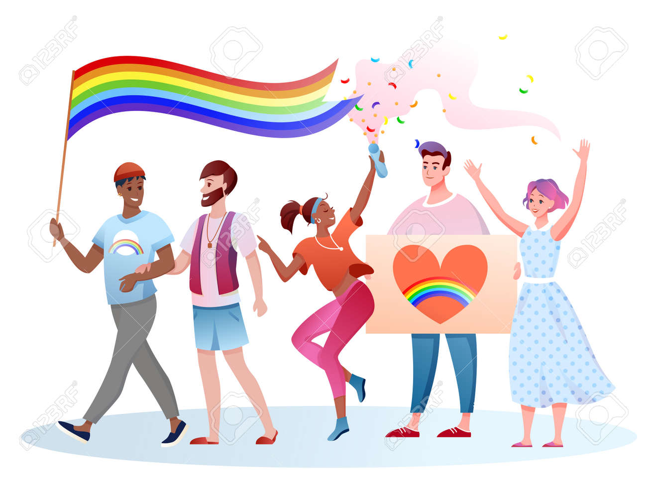 LGBT pride parade vector illustration. Cartoon flat happy and people take part in festival parade for human rights, holding LGBT rainbow flag in hands - 152370286
