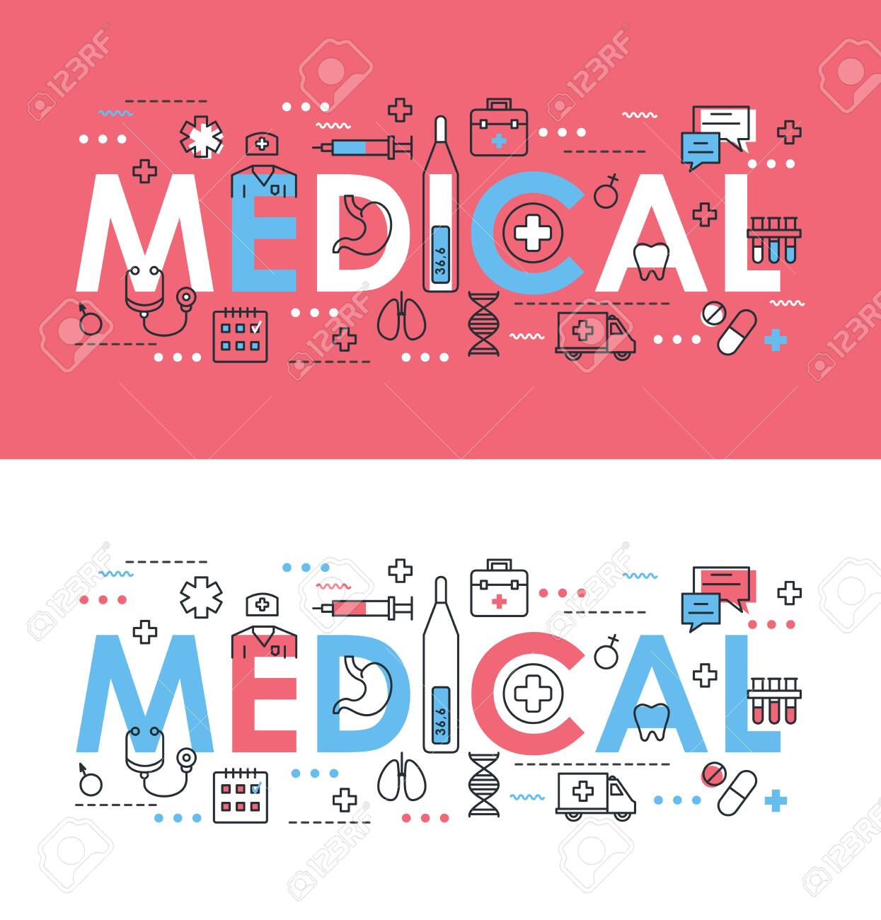 Medical word thin line vector illustration. Flat concept web banner design set with medicine and health care symbols, medic support, doctor diagnosis, treatment in hospital - 152370288