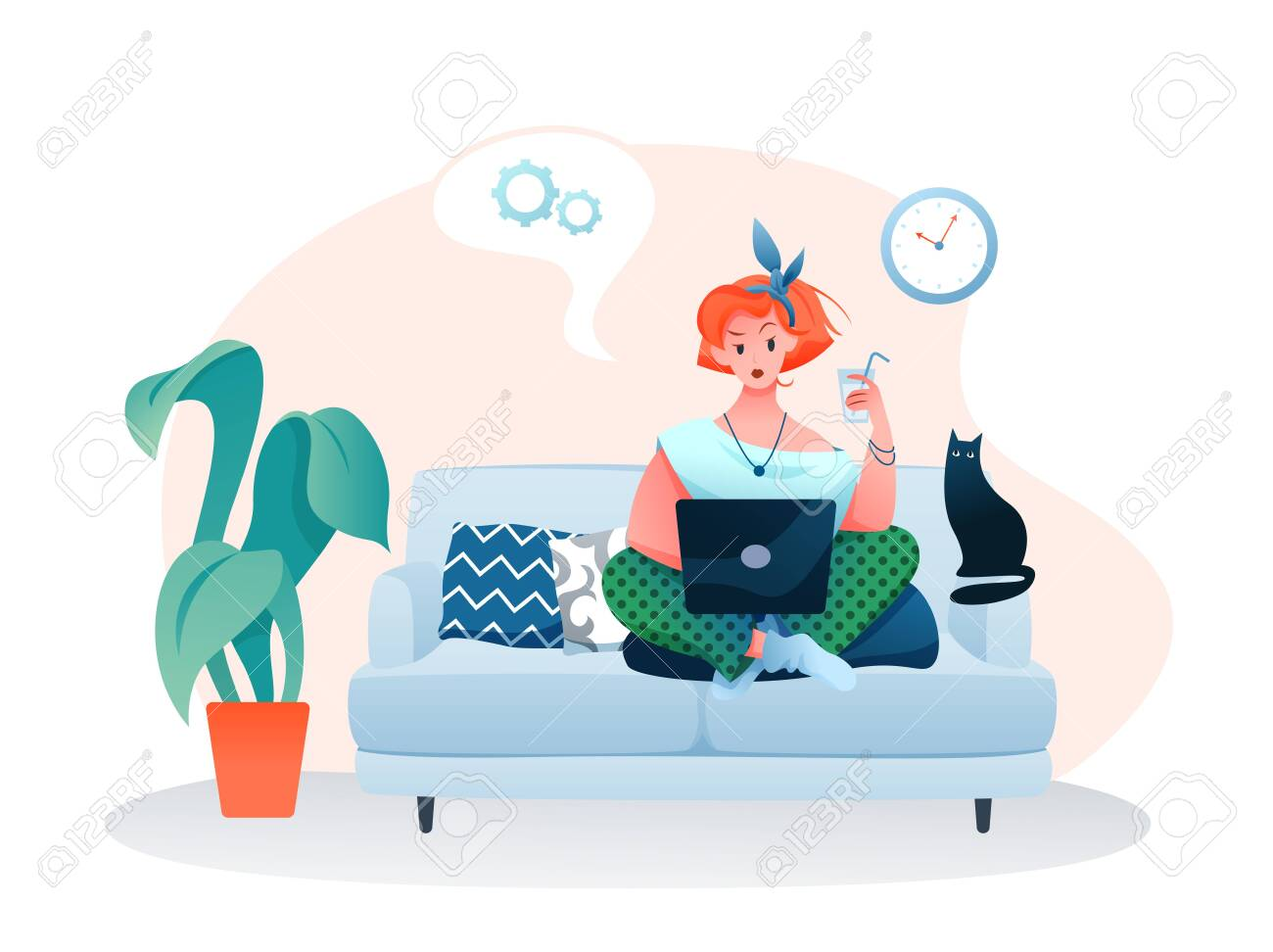 Freelance home work flat vector illustration. Cartoon young woman freelancer character working online with laptop, sitting on sofa in cozy home room apartment interior isolated on white - 153327127