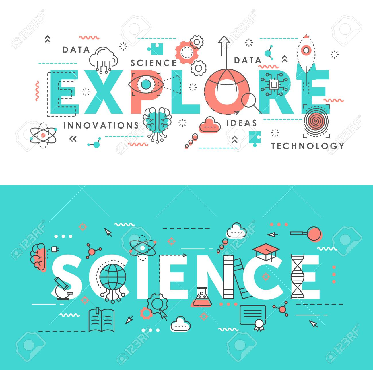 Explore science word abstract thin line vector illustration set. Flat horizontal banners design with innovation idea symbols, scientific exploring laboratory tech equipment - 153327129