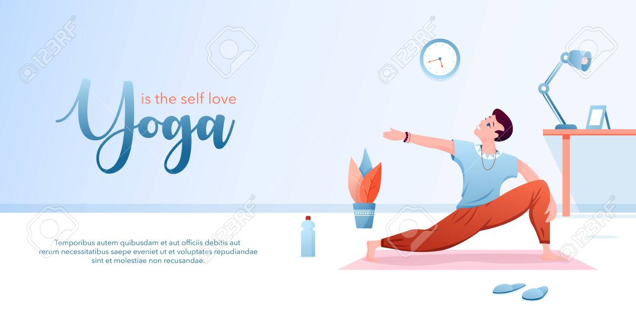 Yoga is self love concept flat vector illustration. Landing page design template with cartoon happy man character doing yogi asana for body stretching, healthy yoga pose for mental and physical health - 153059898
