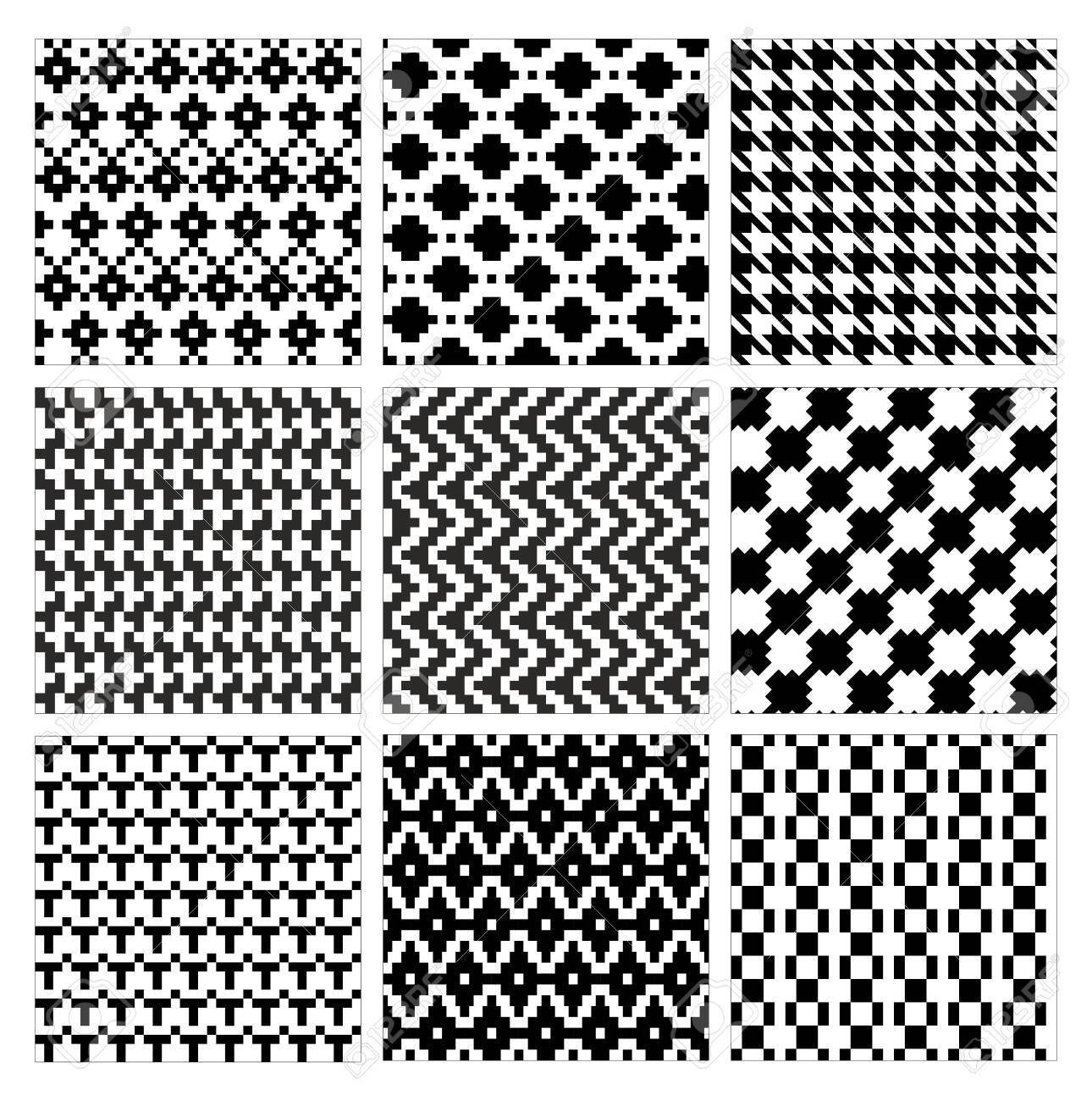 Seamless geometric pattern vector illustration set. Collection of modern stylish ornate abstract black and white texture geometry. Repeating geometric ornament tiles from striped, diagonal elements - 153327131