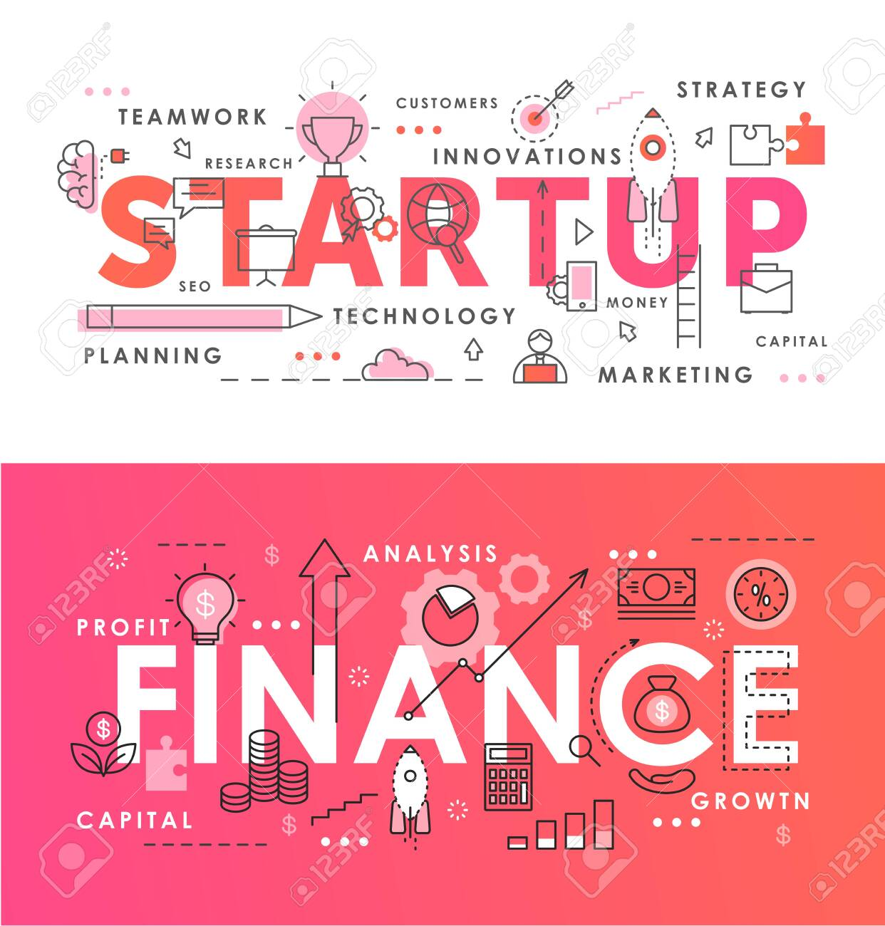 Financial startup word abstract thin line vector illustration set. Flat lineart web banners with starting business project, new idea conceptual symbols, analysis and market research of finance process - 153060551