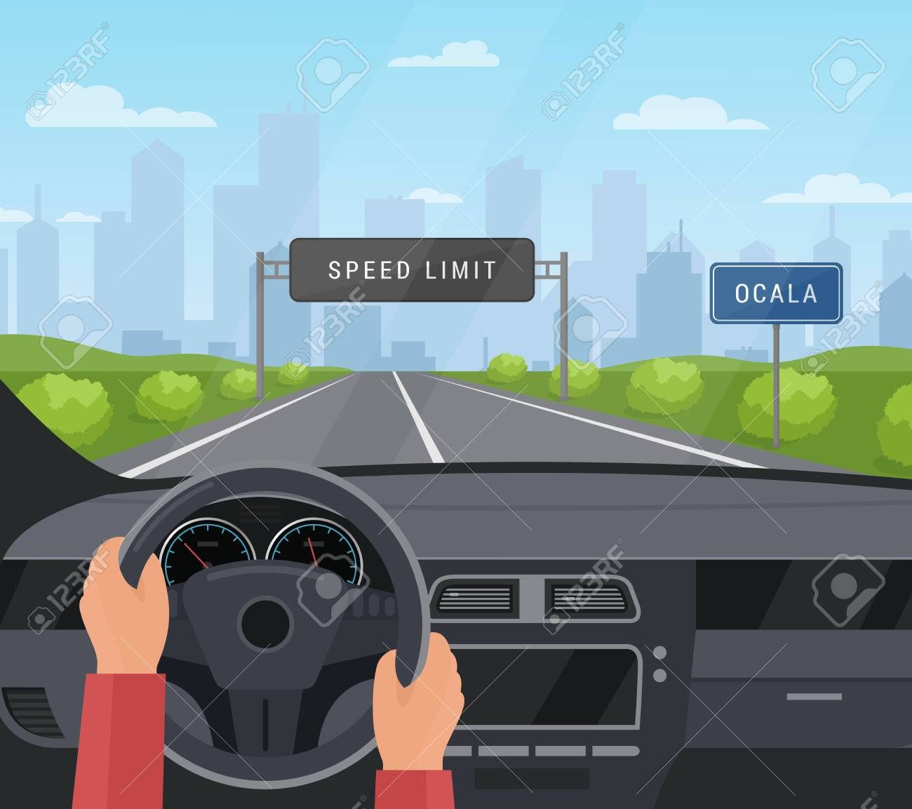Driving car safety concept vector illustration. Cartoon flat human driver hands drive automobile on asphalt road with speed limit, safe sign on highway. Dashboard inside car interior view background - 153060137