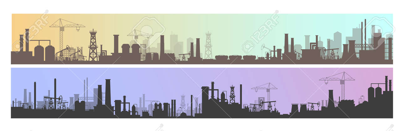 Industry, factory and manufacture landscape vector illustrations. Cartoon flat industrial panoramic area with manufacturing plants, power stations, warehouses, cooling tower silhouettes background - 156310103