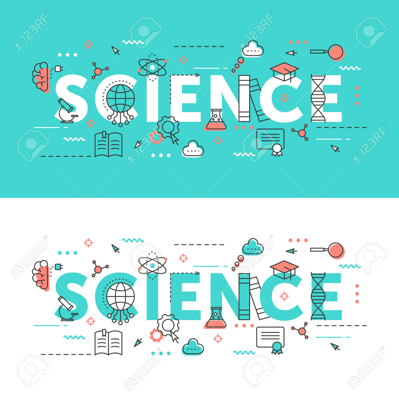 Science word thin line vector illustration set. Flat infographic website design collection with scientific research educational symbols, school education elements - 156310105