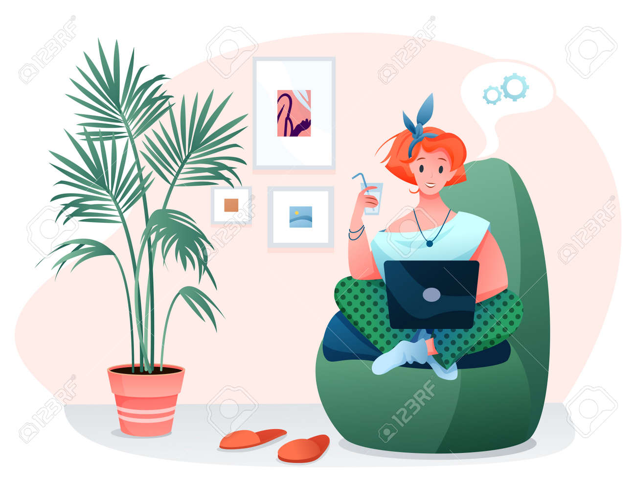 Freelance home work flat vector illustration. Cartoon woman freelancer character works online with laptop, sitting in comfortable armchair of home room interior isolated on white - 156310109