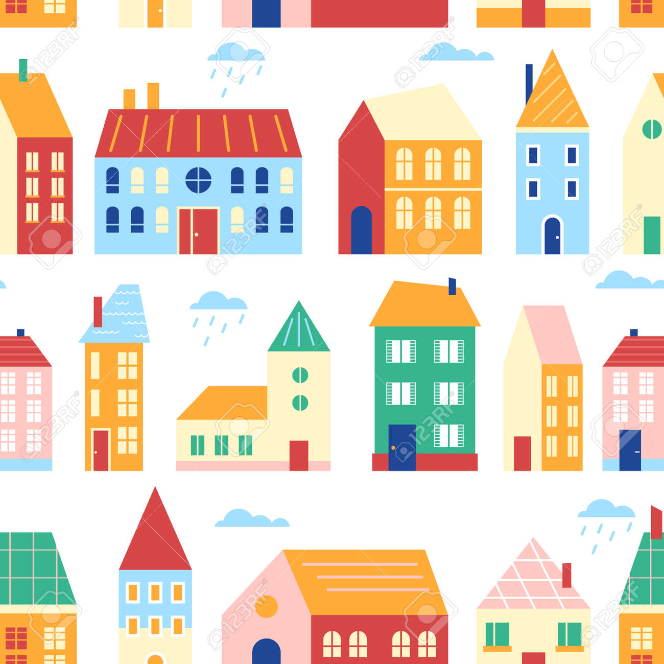 Houses seamless pattern vector illustration, cartoon flat cute urban cityscape with colorful buildings, retro traditional townhouses in row - 158483394