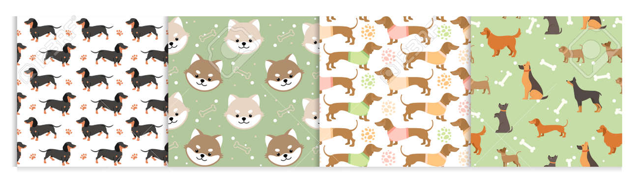Dog pets seamless pattern vector illustrations. Cartoon cute flat animal background set with black brown doggy or funny puppy face. - 158483439