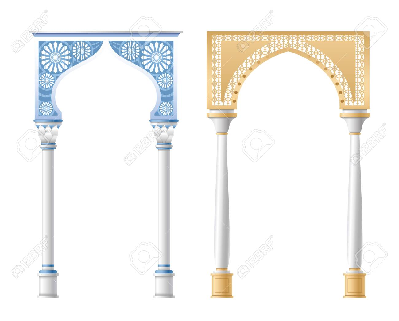 Vector illustration of architectural columns, pillars and arches isolated on white background. - 158435579