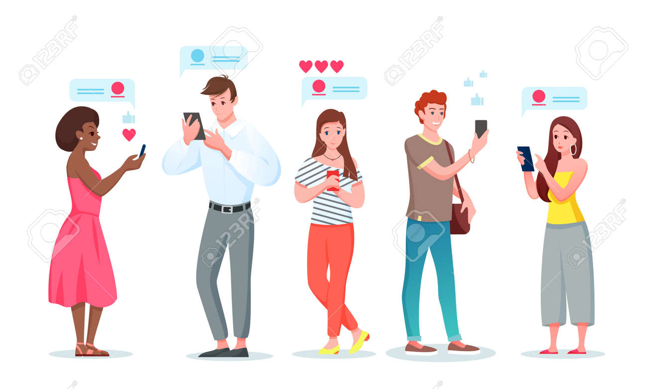 People in chat internet communication vector illustration set. Cartoon flat young man woman characters chatting in social media messenger phone app with friends, communicating online isolated on white - 158578952