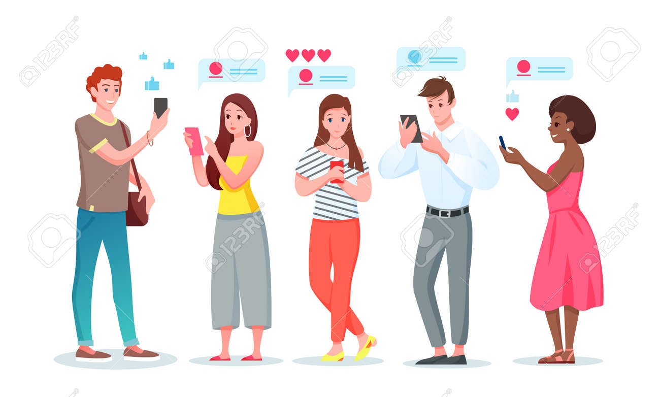 Chat internet communication set, cartoon young people chatting in social media messenger phone app - 158578950