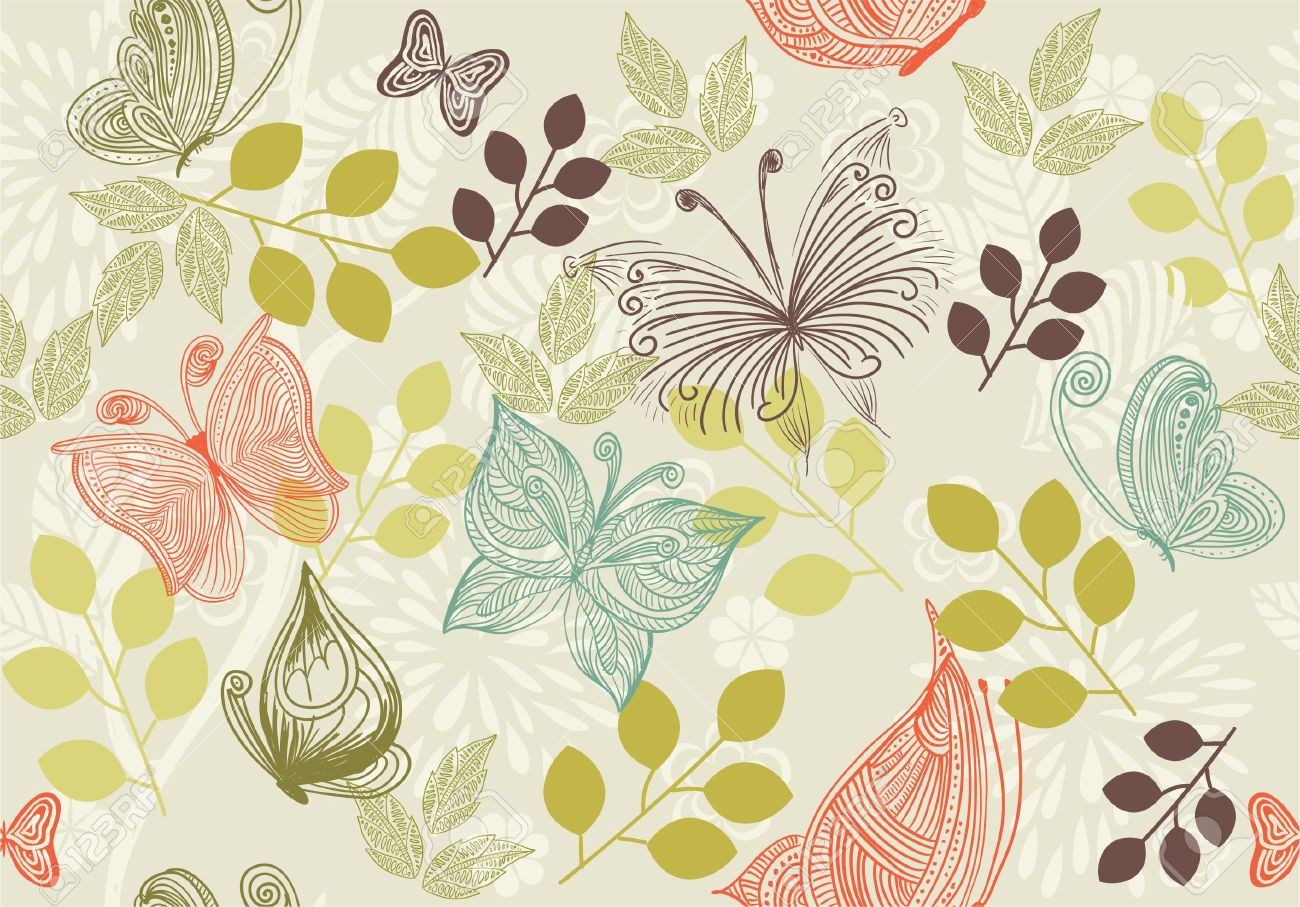 retro floral background with butterflies Stock Vector - 10914027
