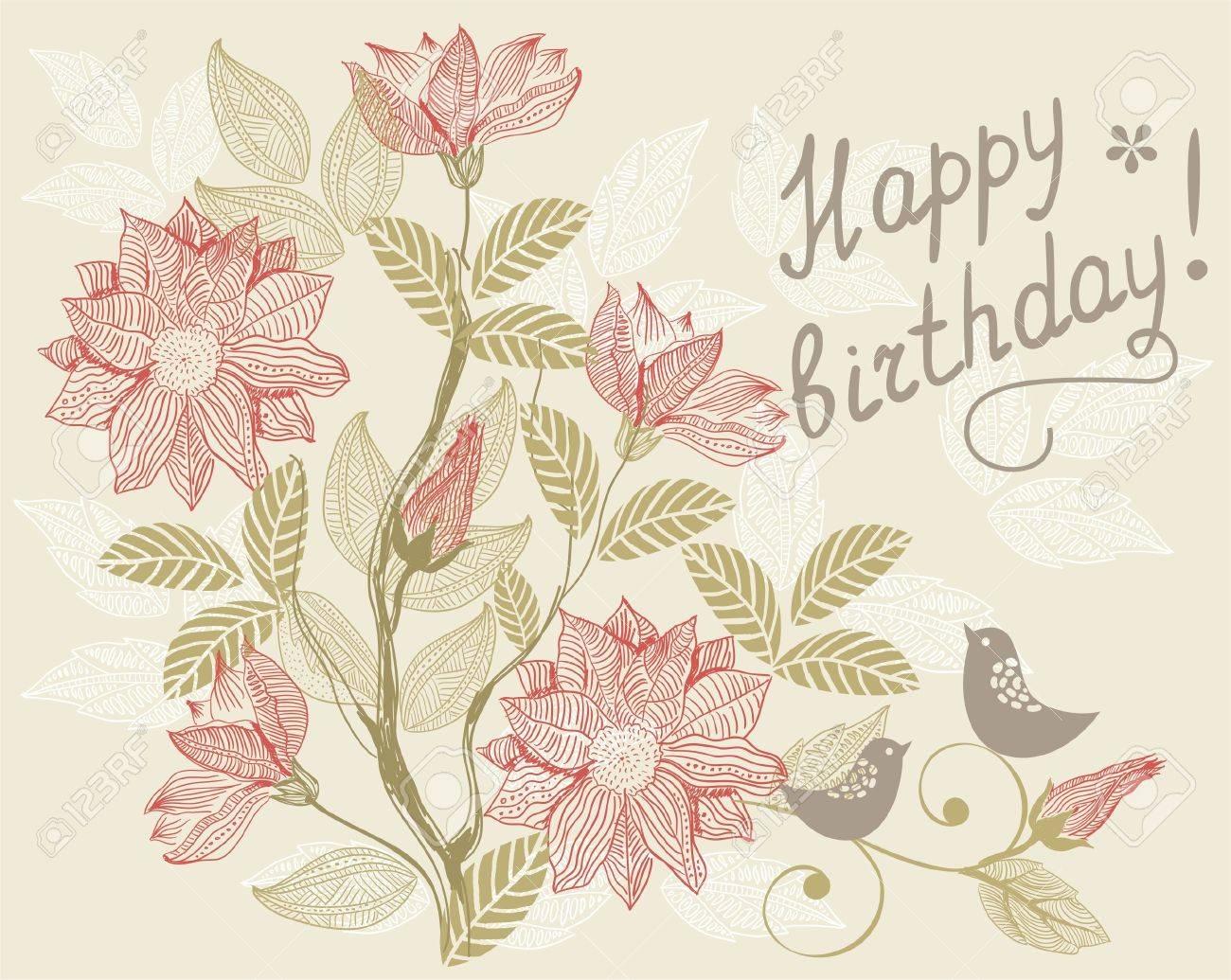 Feliz cumpleaños, page92!!!!! 11285502-retro-floral-card-happy-birthday