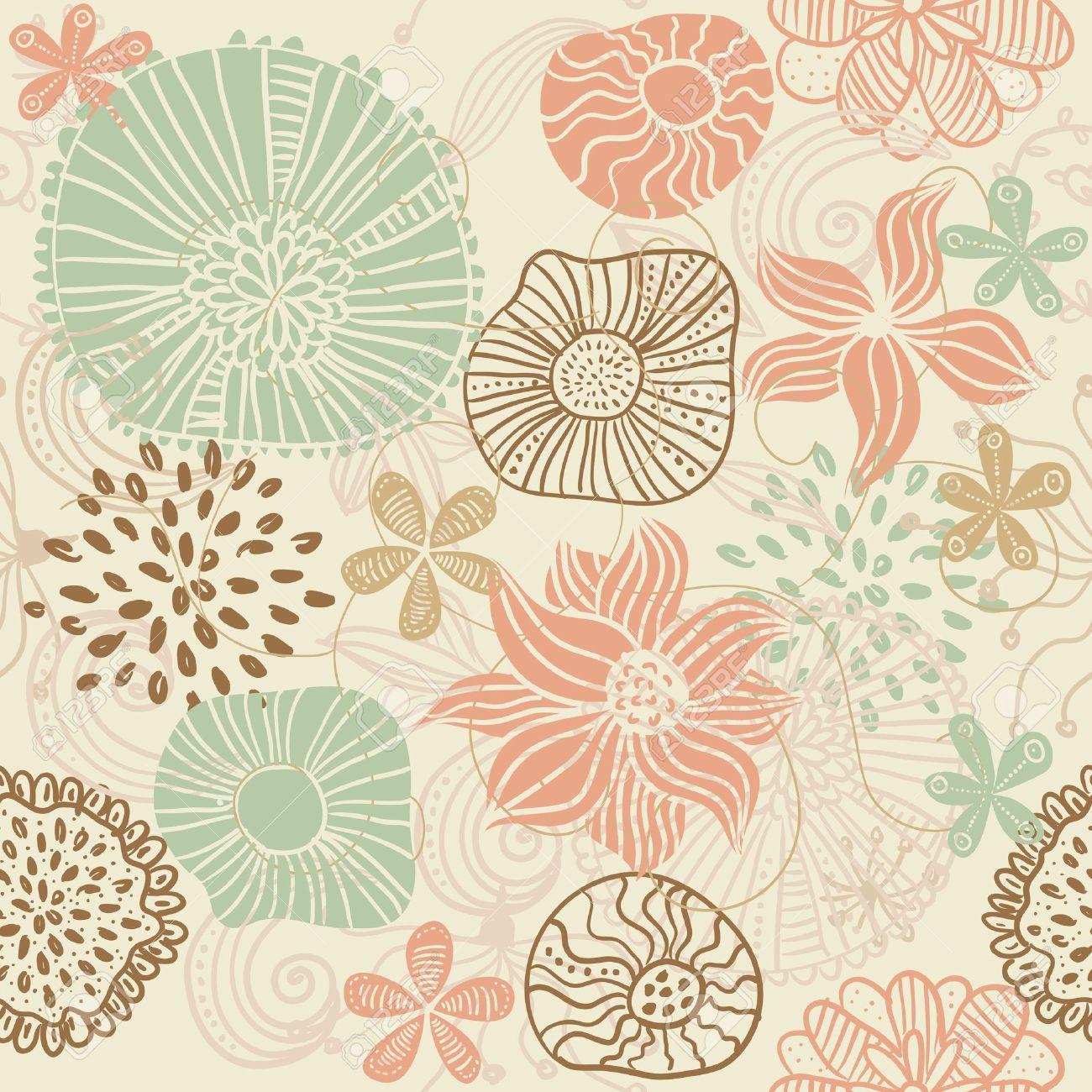 retro floral seamless background Stock Vector - 12054031