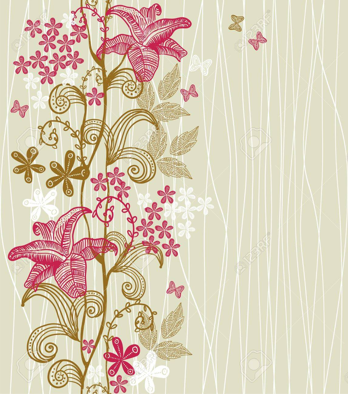 vertical seamless floral pattern Stock Vector - 12900335