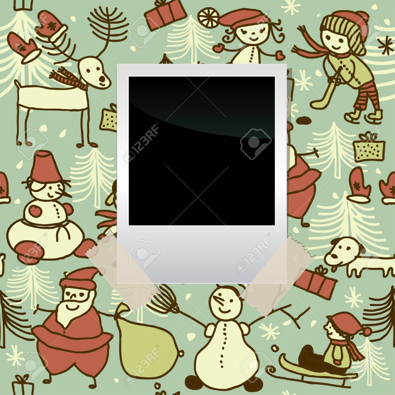 blank film banner on seamless xmas pattern Stock Vector - 16279487