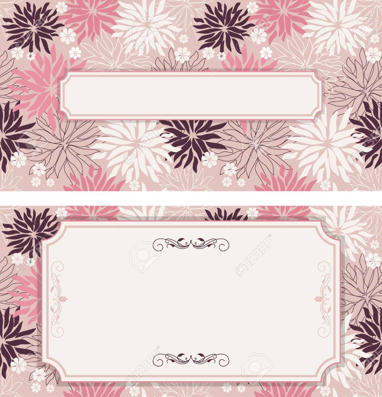 Set of vintage greeting cards invitation with floral ornaments set of vintage greeting cards invitation with floral ornaments beautiful luxury postcards stock kristyandbryce Images