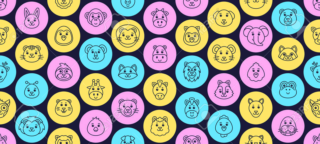 Seamless pattern with Animals icons. Animal icons set. Icon design. Template elements - 171263525