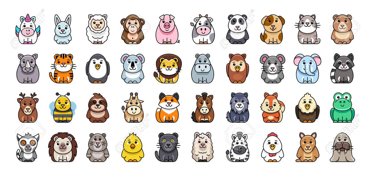 Animals Icon Set. Cartoon Animal Icon. Icon design. Template elements - 171263528