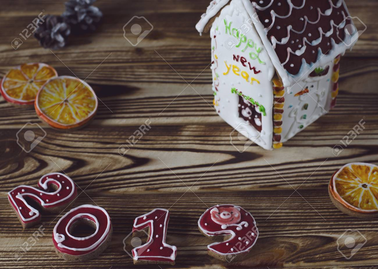 2019 White House Christmas Card.Christmas Card On Wood Background Gingerbread Red Numbers 2019